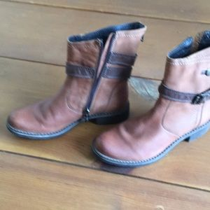 V Italia Ankle Boots Leather Side Zip Up Brown 37